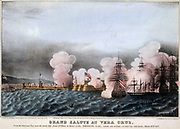 Mexican-American War 1846-1848: Battle of Vera Cruz, 20 day siege of the city 9-29 March 1847. American fleet saluting the raising of  Stars and Stripes on Castle of San Juan d'Ulloa .  This was the first large-scale amphibious assault by the United States forces.