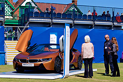 LIVERPOOL, ENGLAND - Friday, June 22, 2018: Spectators look at the BMW i8 roadster during day two of the Williams BMW Liverpool International Tennis Tournament 2018 at Aigburth Cricket Club. (Pic by Paul Greenwood/Propaganda)