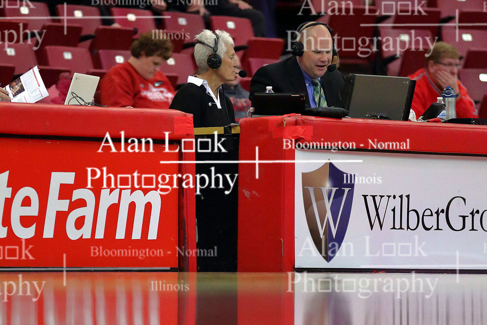 10 December 2017: Jill Hutchinson and RC McBride during an College Women's Basketball game between Illinois State University Redbirds and the Eagles of Eastern Michigan at Redbird Arena in Normal Illinois.