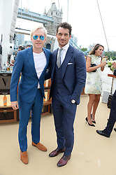 The Johnnie Walker Blue Label and David Gandy Drinks Reception aboard John Walker & Sons Voyager, St.Georges Stairs Tier, Butler's Wharf Pier, London, UK on 16th July 2013.<br /> Picture Shows:-Ben Hudson and David Gandy.