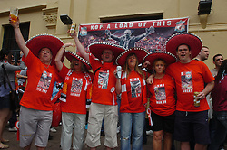 CARDIFF, WALES - SATURDAY, MAY 13th, 2006: Liverpool's fans in sombreros in Cardiff before the FA Cup Final against West Ham United at the Millennium Stadium. (Pic by Jason Roberts/Propaganda)