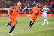 ROTTERDAM, Nederland - Luxemburg, Voetbal, Interland, Oranje, Kwalificatie WK 2018, 09-06-2017, Stadion de Kuip, Arjen Robben (L) heeft de 1-0 gescoord, Vincent Janssen (M)