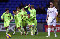 Photo: Paul Thomas/Sportsbeat Images.<br /> Bolton Wanderers v Aris Salonica. UEFA Cup. 29/11/2007.<br /> <br /> Kevin Nolan (R) of Bolton shows his dejection as Aris Salonica celebrate their first goal.