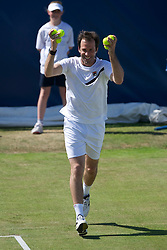 LIVERPOOL, ENGLAND - Sunday, June 19, 2011: Greg Rusedski (GBR) in action during day four of the Liverpool International Tennis Tournament at Calderstones Park. (Pic by David Rawcliffe/Propaganda)
