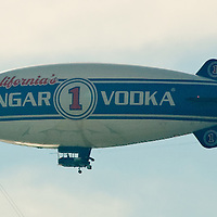 "The  Hangar 1 Vodka blimp flies above Santa Monica on Thursday, December 29, 2011.The blimp is on a twenty-city, cross-country journey, landing at planned destinations along the way in order to host bartender ""mix offs"" using their hand-crafted vodka as the key ingredient."