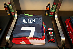 VIENNA, AUSTRIA - Thursday, October 6, 2016: The Wales grey kit of Joe Allen laid out in the away dressing room ahead of the 2018 FIFA World Cup Qualifying Group D match against Austria at the Ernst-Happel-Stadion. (Pic by David Rawcliffe/Propaganda)