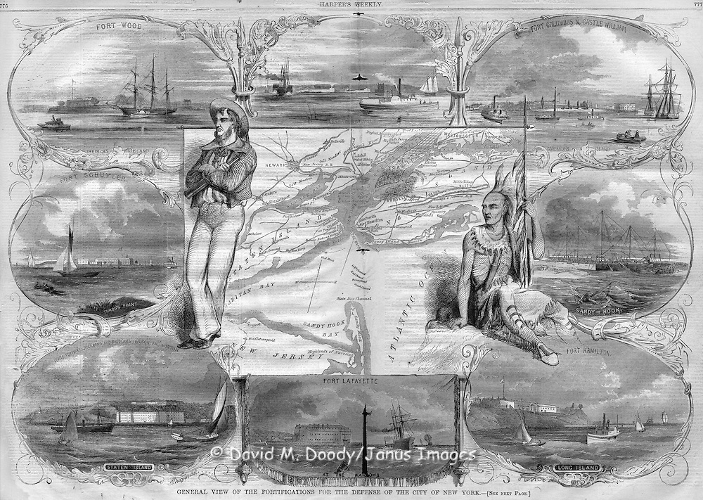 Harper's Weekly December 8, 1860 New York's waterside Defenses and a map double page spread 776-777