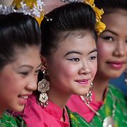 Thai teenagers compete in a beauty contest during festivities at Thailand's Phi Ta Khon Ghost festival Friday, June, 22nd, 2012, in Dan Sai, Thailand.  The Dan Sai Ghost Festival is unique to the Isan area of Thailand in the east and is part of local beliefs in spirits and ghost and is also a Buddhist merit making festival.