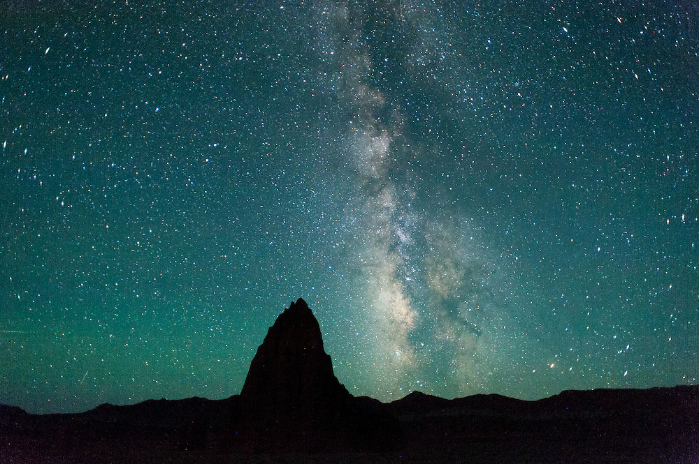 Temple of the Sun beneath the Milky Way, Cathedral Valley Loop, Capitol Reef National Park, Utah
