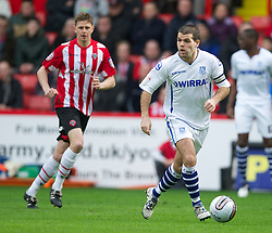 SHEFFIELD, ENGLAND - Saturday, March 17, 2012: Tranmere Rovers' captain John Welsh in action against Sheffield United during the Football League One match at Bramall Lane. (Pic by David Rawcliffe/Propaganda)