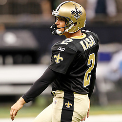 September 1, 2011; New Orleans, LA, USA; New Orleans Saints kicker John Kasay (2) during a preseason game at the Louisiana Superdome. Mandatory Credit: Derick E. Hingle