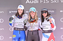 16.03.2019, Soldeu, AND, FIS Weltcup Ski Alpin, Slalom, Damen, Siegerehrung, Weltcupwertung, im Bild Petra Vlhova (SVK, zweiter Platz Gesamt, Riesenslalom und Slalom Weltcup )Mikaela Shiffrin (USA, Siegerin Slalom, Riesenslalom, Super G und Gesamteltcup) Wendy Holdener (SUI,dritter Platz Gesamt und Slalom Weltcup) // Petra Vlhova (SVK, zweiter Platz Gesamt, Riesenslalom und Slalom Weltcup )Mikaela Shiffrin (USA, Siegerin Slalom, Riesenslalom, Super G und Gesamteltcup) Wendy Holdener (SUI,dritter Platz Gesamt und Slalom Weltcup) during the winner ceremony for the ladie's Slalom Worldcup rating of FIS Ski Alpine World Cup finals. Soldeu, Andorra on 2019/03/16. EXPA Pictures © 2019, PhotoCredit: EXPA/ Erich Spiess