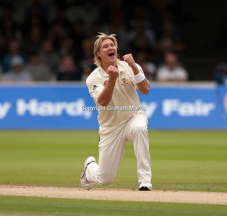 Shane Watson celebrates having Umar Akmal lbw during the MCC Spirit of Cricket Test Match between Pakistan and Australia at Lord's.  Photo: Graham Morris (Tel: +44(0)20 8969 4192 Email: sales@cricketpix.com) 14/07/10