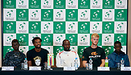 Sopot, Poland - 2018 April 05: (L-R) Mehluli Don Ayanda Sibanda and Takanyi Garanganga and captain Gwinyai Tongoona and Benjamin Lock and Mark Chigaazira all from Zimbabwe attend press conference two days before Poland v Zimbabwe Tie Group 2, Europe/Africa Second Round of Davis Cup by BNP Paribas at 100 years of Sopot Hall on April 05, 2018 in Sopot, Poland.<br /> <br /> Mandatory credit:<br /> Photo by © Adam Nurkiewicz / Mediasport<br /> <br /> Adam Nurkiewicz declares that he has no rights to the image of people at the photographs of his authorship.<br /> <br /> Picture also available in RAW (NEF) or TIFF format on special request.<br /> <br /> Any editorial, commercial or promotional use requires written permission from the author of image.