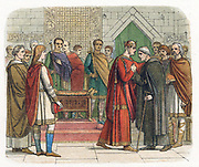 William I, The Conqueror (1027-87) King of England from 1066. William receiving the English leaders c1067. Colour printed wood engraving