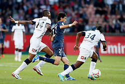 29.09.2012, Stade de Parc des Princes, Paris, FRA, Ligue 1, Paris St. Germain vs FC Sochaux, 7. Runde, im Bild JAVIER PASTORE (PARIS SAINT-GERMAIN), KALILOU TRAORE (SOCHAUX), JEROME ROUSSILLON (SOCHAUX) // during the French Ligue 1 7th round match between Paris St. Germain and FC Sochaux at the Stade de Parc des Princes, Paris, France on 2012/09/29. EXPA Pictures © 2012, PhotoCredit: EXPA/ PicAgency Skycam/ Chris Elise..***** ATTENTION - OUT OF SWE *****