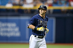 July 8, 2017 - St. Petersburg, Florida, U.S. - WILL VRAGOVIC   |   Times.Tampa Bay Rays designated hitter Corey Dickerson (10) after grounding out to pitcher in the first inning of the game between the Boston Red Sox and the Tampa Bay Rays at Tropicana Field in St. Petersburg, Fla. on Saturday, July 8, 2017. (Credit Image: © Will Vragovic/Tampa Bay Times via ZUMA Wire)