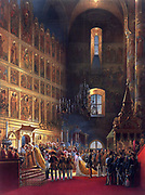 Anointing of Alexander II during his coronation as Tsar of Russia in 1856