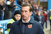 Gillingham  manager Justin Edinburgh during the EFL Sky Bet League 1 match between Gillingham and Northampton Town at the MEMS Priestfield Stadium, Gillingham, England on 12 November 2016. Photo by Martin Cole.