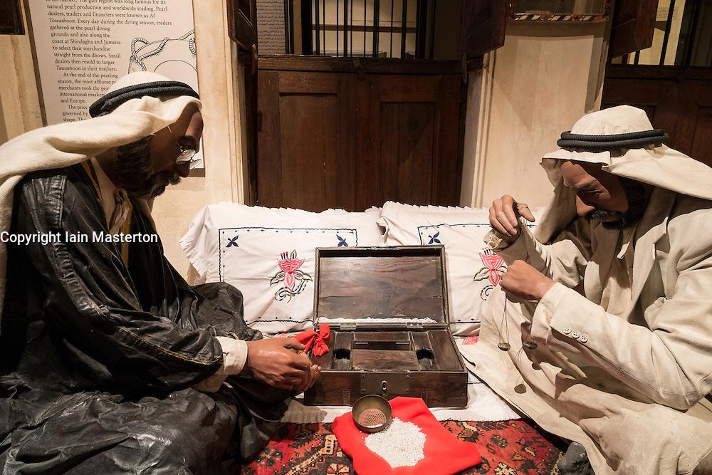 Pearl trading exhibit at Dubai Museum in United Arab Emirates
