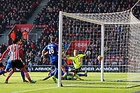Football - 2016 / 2017 Premier League - Southampton vs. Leicester City<br /> <br /> Southampton's Jay Rodriguez fires past Kasper Schmeichel of Leicester City to score Southampton second goal at St Mary's Stadium Southampton England<br /> <br /> COLORSPORT/SHAUN BOGGUST