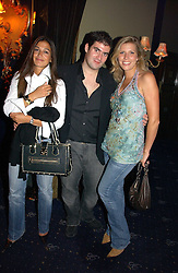 Left to right, SARA LAW, ZAFAR RUSHDIE and HELEN FARR at a Lonsdale Supper Club party held at the Cafe de Paris, Coventry Street, London on 28th September 2006.<br /><br />NON EXCLUSIVE - WORLD RIGHTS
