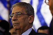 Egyptian presidential candidate Amr Moussa appears on stage at a May 16, 2012 campaign rally in the village of Khanka on the outskirts of Cairo, Egypt. Moussa is currently the front-runner in the upcoming Egyptian presidential elections that will take place across the country May 23-24, 2012. (Photo by Scott Nelson)