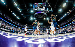 Shawn Huff of Finland vs Anthony Randolph of Slovenia during basketball match between National Teams of Finland and Slovenia at Day 3 of the FIBA EuroBasket 2017 at Hartwall Arena in Helsinki, Finland on September 2, 2017. Photo by Vid Ponikvar / Sportida