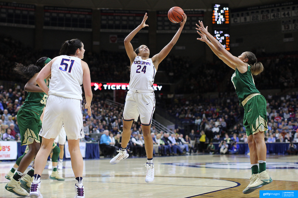 STORRS, CONNECTICUT- NOVEMBER 17: Napheesa Collier #24 of the UConn Huskies rebounds while challenged by Alexis Prince #12 of the Baylor Bears during the UConn Huskies Vs Baylor Bears NCAA Women's Basketball game at Gampel Pavilion, on November 17th, 2016 in Storrs, Connecticut. (Photo by Tim Clayton/Corbis via Getty Images)