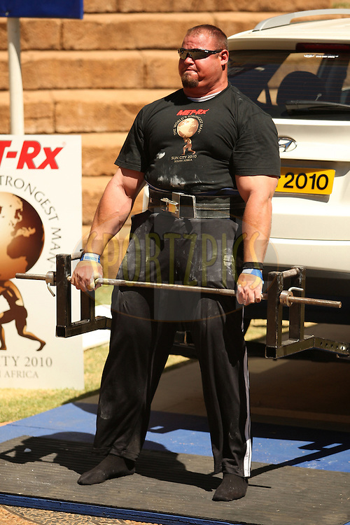 Brian Shaw (USA) extends for a full rep in the deadlift event during the final rounds of the World's Strongest Man competition held in Sun City, South Africa.