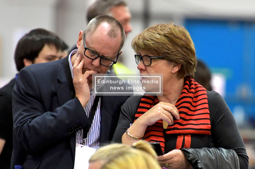 SCOTTISH PARLIAMENTARY ELECTION 2016 – Lesley Hinds, Scottish Labour Party, watching the vote counting  at Royal Highland Centre, Edinburgh<br />