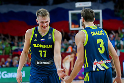 Luka Doncic of Slovenia and Goran Dragic of Slovenia celebrate during basketball match between National Teams of Slovenia and Spain at Day 15 in Semifinal of the FIBA EuroBasket 2017 at Sinan Erdem Dome in Istanbul, Turkey on September 14, 2017. Photo by Vid Ponikvar / Sportida