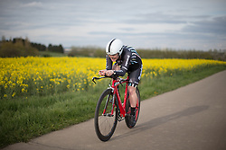 Lucy Shaw of Drops Cycling Team digs deep during the 2.8km time trial prologue of Elsy Jacobs - a stage race in Luxembourg in Luxembourg on April 29, 2016 in Luxembourg.
