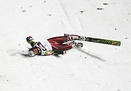 ZAKOPANE 20/01/2007..SKI JUMPING WORLD CUP ZAKOPANE 2007..Ski jumper Jan Mazoch of the Czech Republic slides down the hill after he crashed in heavy and changing wind during his second series jump at the World Cup ..FOT. PIOTR HAWALEJ / WROFOTO..