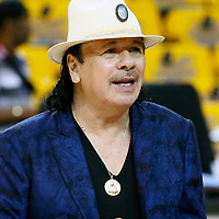 OAKLAND, CA - JUN 3: Carlos Santana is seen prior to Game Two of the 2018 NBA Finals won 122-103 by the Golden State Warriors over the Cleveland Cavaliers at the Oracle Arena on June 3, 2018 in Oakland, California. NOTE TO USER: User expressly acknowledges and agrees that, by downloading and or using this photograph, User is consenting to the terms and conditions of the Getty Images License Agreement. Mandatory Copyright Notice: Copyright 2018 NBAE (Photo by Chris Elise/NBAE via Getty Images)