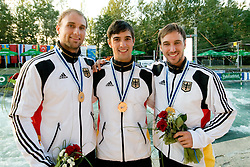 Gold medalists team Germany (Alexander Grimm, Fabian Doerfler and Hannes Aigner) in the Men's Kayak K-1 Teams at ICF Canoe Slalom World Championships - Sloka 2010 on September 12, 2010 in Tacen, Ljubljana, Slovenia (Photo by Matic Klansek Velej / Sportida)