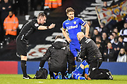 Leeds United Midfielder Eunan O'Kane (14) gets injured during the EFL Sky Bet Championship match between Fulham and Leeds United at Craven Cottage, London, England on 3 April 2018. Picture by Stephen Wright.