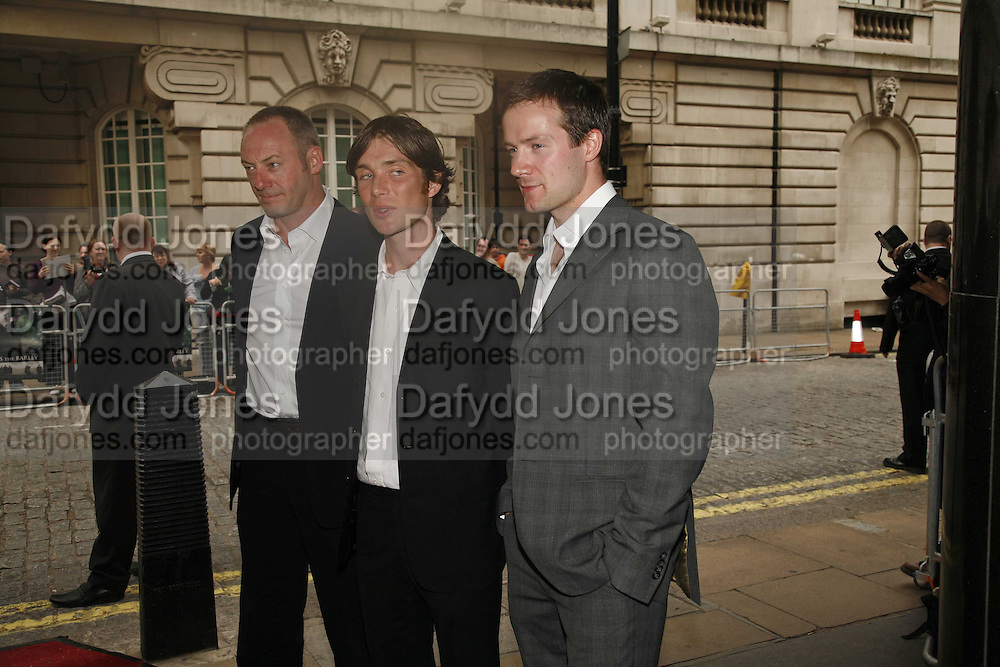 Liam Cunningham; Cillian Murphy; Padriac Delaney, the UK premiere of Ken Loach's ' the Wind that Shakes the Barley' Curzon, Mayfair. 21 June 2006. ONE TIME USE ONLY - DO NOT ARCHIVE  © Copyright Photograph by Dafydd Jones 66 Stockwell Park Rd. London SW9 0DA Tel 020 7733 0108 www.dafjones.com