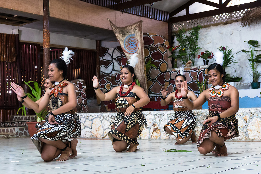 Nuku'Alofa, Tonga -- March 10, 2018. Female dancers in native garb perform a traditional Tonganese dance. Editorial Use Only.