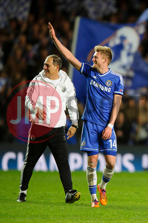 Chelsea Goalscorer Andre Schurrle (GER) celebrates at the final whistle after a dramatic 2-0 win to progress to the semi-final - Photo mandatory by-line: Rogan Thomson/JMP - 07966 386802 - 08/04/2014 - SPORT - FOOTBALL - Stamford Bridge, London - Chelsea v Paris Saint-Germain - UEFA Champions League Quarter-Final Second Leg.