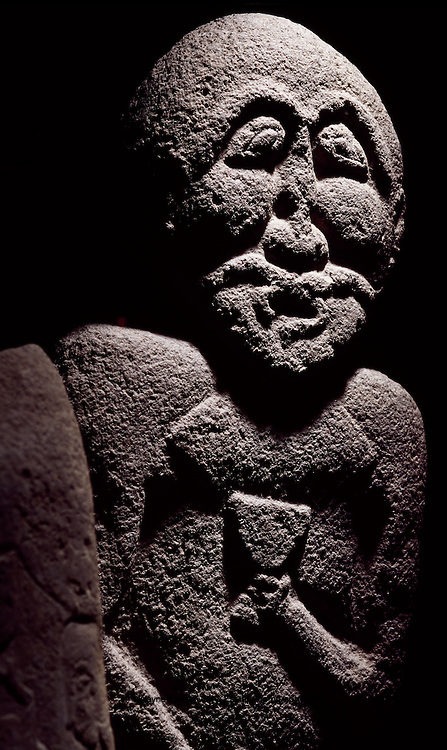 5th to 2nd century B.C. Balbal found at Baite well, Ustyurt Plateau, depicts a female warrior chieftain.   Balbal scuptues served a variety of purposes  including memorials at grave sites, deification of ancestors, mounuments to honor a defeated enemy or tribal boundary maerkers. Kazakhstan
