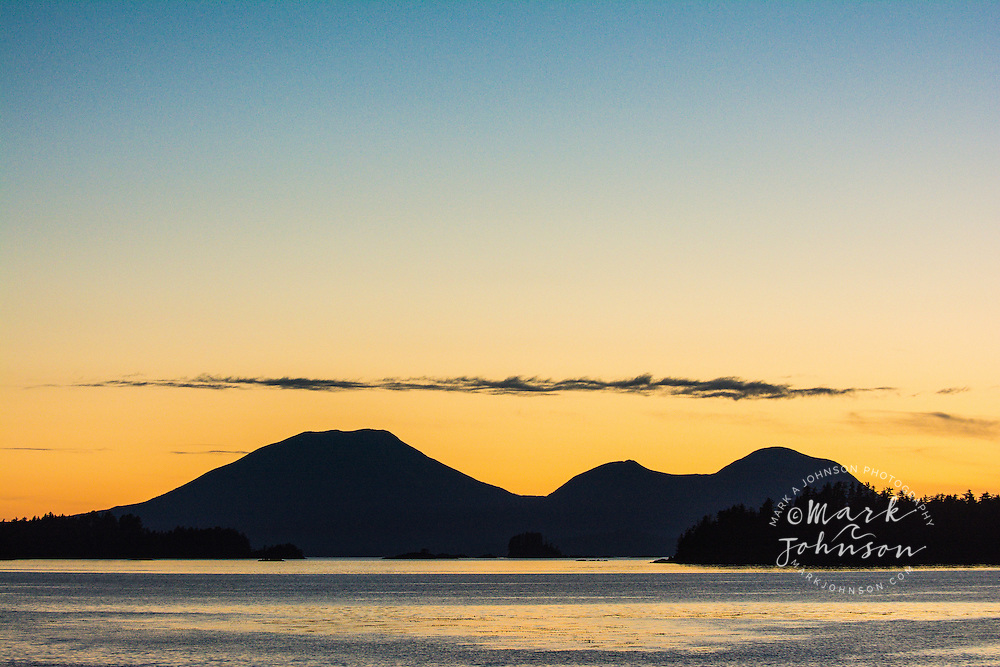 A view of Mt. Edgecumbe, a dormant volcano on Kruzof Island, taken from Sitka, Alaska, which is on Baranof Island. Southeast Alaska, USA