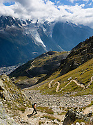Day hike on the High Route (Chamonix-Zermatt Haute Route) across from vast glaciers of the Mont Blanc Massif, Chamonix, France, Europe.