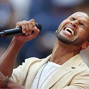 2017 U.S. Open Tennis Tournament - DAY THIRTEEN.  Hamilton star Sydney James Harcourt performing at the Women's Final opening ceremony before the match between Sloane Stephens of the United States and Madison Keys of the United States during the Women's Singles Final at the US Open Tennis Tournament at the USTA Billie Jean King National Tennis Center on September 09, 2017 in Flushing, Queens, New York City.  (Photo by Tim Clayton/Corbis via Getty Images)