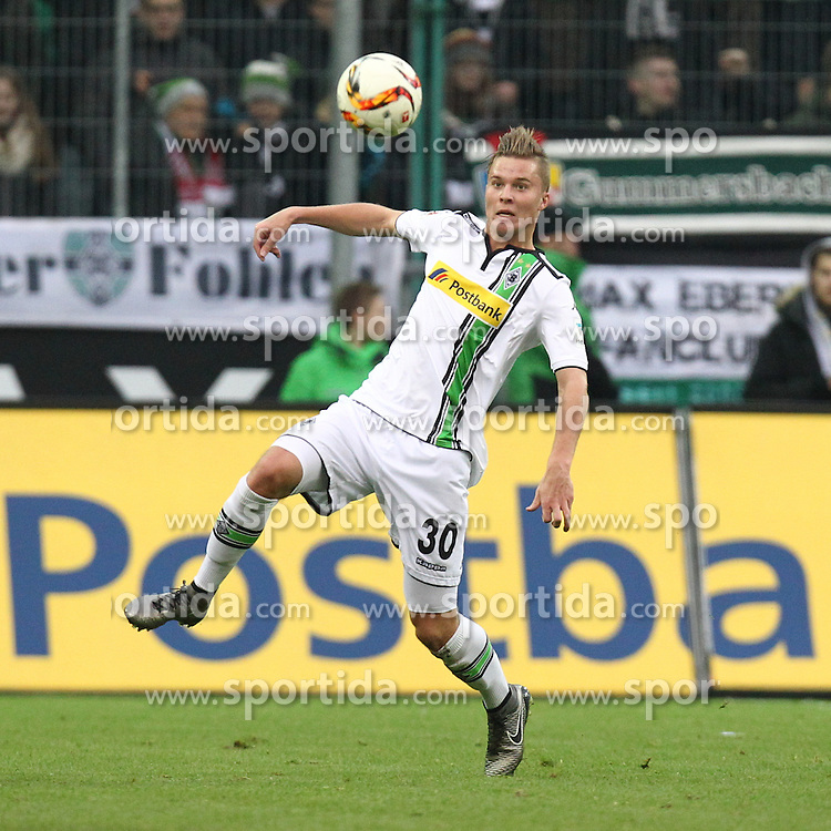 05.12.2015, Stadion im Borussia Park, Moenchengladbach, GER, 1. FBL, Borussia Moenchengladbach vs FC Bayern Muenchen, 15. Runde, im Bild Nico Elvedi (#30, Borussia Moenchengladbach), // during the German Bundesliga 15th round match between Borussia Moenchengladbach and FC Bayern Muenchen at the Stadion im Borussia Park in Moenchengladbach, Germany on 2015/12/05. EXPA Pictures &copy; 2015, PhotoCredit: EXPA/ Eibner-Pressefoto/ Deutzmann<br /> <br /> *****ATTENTION - OUT of GER*****