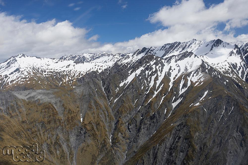 Snow-streaked mountain peaks