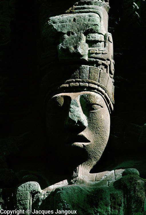 Maya ruins of Quirigua in Guatemala (Classic Period): Stela D representing King Cauac Sky (close-up of head with late afternoon light)
