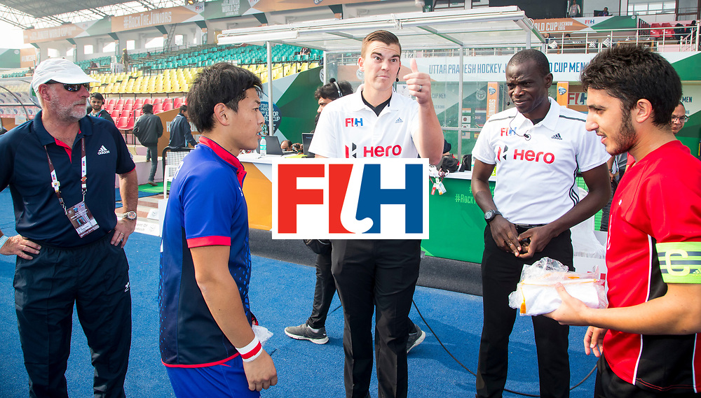 LUCKNOW (India) -   Junior World Cup hockey  U21 for men .  EGYPT v JAPAN (place 12-16 ). Tos right Abdalrahman Kasam (EGY) and left Ryo Ozawa (JPN) . with umpires Zeke Newman (AUS) and Aziz Adimah (GHA). COPYRIGHT  KOEN SUYK