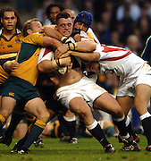 2005 Rugby, Investec Challenge, England vs Australia, Andrew Sheriden, on the roll, supported by Olly Barkley, Tackling,  Wallabies left to right Chris Whitaker and  right Nathen Sharpe.  RFU Twickenham, ENGLAND:     12.11.2005   © Peter Spurrier/Intersport Images ...