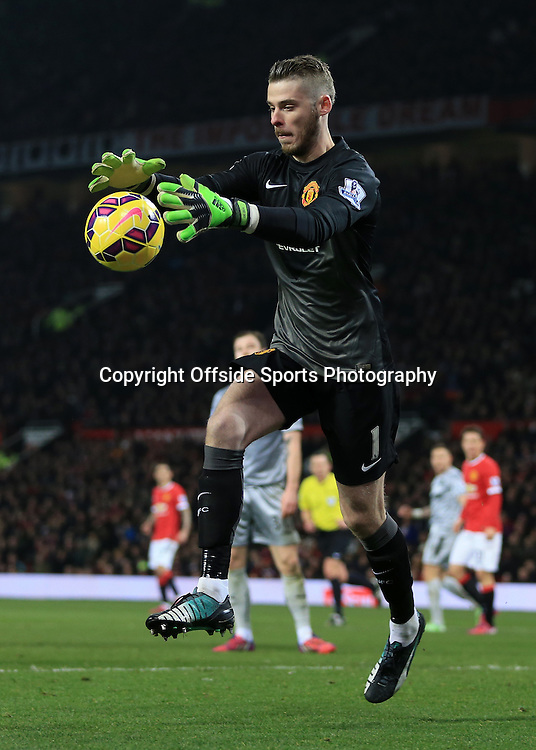 11th February 2015 - Barclays Premier League - Manchester United v Burnley - Man Utd goalkeeper David De Gea catches the ball - Photo: Simon Stacpoole / Offside.